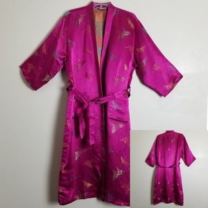 Vintage Pink Kimono Embroidered Butterflies Size M